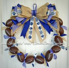 Check out this item in my Etsy shop https://www.etsy.com/listing/469573435/football-wreath-penn-state-inspired-team