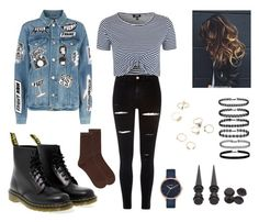 """""""Grunge"""" by natalia-crowell ❤ liked on Polyvore featuring River Island, Dr. Martens, Topshop, Frame, Nixon, Accessorize, blackandwhite and grunge"""