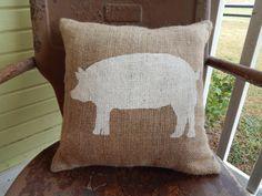Painted Burlap PIG Decorative Throw Pillow Farmhouse Chic Animal Decor Farm by TakeFlyteFarm on Etsy https://www.etsy.com/listing/207992937/painted-burlap-pig-decorative-throw