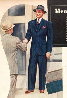 1941 men's pinstripe suits in teal blue , sand tan or medium green. Source by CianVelinov clothing styles 1940s Mens Suits, 1940s Mens Fashion, Mens Boots Fashion, Mens Fashion Suits, Men's Fashion, Fashion History, Latex Fashion, Fashion Styles, Fashion Outfits