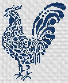 Tribal Rooster is a monochrome cross stitch chart from White Willow Stitching. White Willow Stitching creates counted Cross Stitch Charts from Pagan to Christian, Fantasy to photo and Angels to Animals. Rooster Cross Stitch, Chicken Cross Stitch, Cross Stitch Animals, Cross Stitch Charts, Counted Cross Stitch Patterns, Cross Stitch Designs, Cross Stitch Embroidery, Cross Stitch Pattern Maker, Crochet Cross