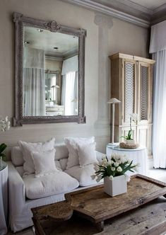White and rustic wood decor
