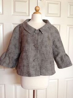 THEORY For NEIMAN MARCUS Metallic Gray Wool Textured Cropped Coat Sz L Large LN #NeimanMarcus #BasicCoat