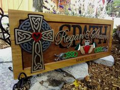 Celtic Cross Irish Claddagh wedding anniversary gift carved wood