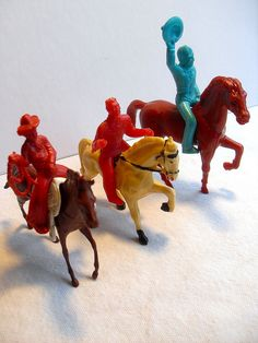 1960s VINTAGE TOYS - PLASTIC COWBOYS ON HORSES