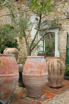 Collection of old water jars and olive pots, Spain