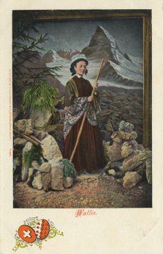 Wallis, Schweiz, Postkarte, ca. 1900