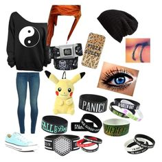 """""""My fave bands"""" by grace-hobson on Polyvore featuring J Brand, Converse and Free People"""