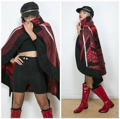 Day 4 - Today Tracy-Lee is wearing a red blanket cape by Thabo Makhetha from Journey on Long Street, cut-out leggings and a top from Tomboy Appeal, Madison the Heart of New York boots and a hat from a thrift shop. African Print Fashion, African Fashion Dresses, African Prints, African Wear, African Dress, Cape Designs, Beautiful Ankara Styles, Cut Out Leggings, Clothing Items