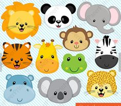 Animal Faces Clipart Clip Art, Zoo Jungle Farm Barnyard Forest Woodland Animal Clipart Clip Art – Commercial and Personal Use – Melissa Campos - Baby Animals