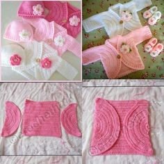 Simple Baby Bolero Making - lasteriided Baby Girl Patterns, Baby Sweater Patterns, Baby Knitting Patterns, Crochet Patterns, Crochet Baby Jacket, Crochet Baby Sweaters, Crochet Baby Clothes, Knitting Baby Girl, Baby Girl Crochet