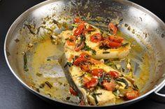 Baked Halibut Steaks with Lemon- Garlic – Cherry Tomato -Herbed Butter Sauce on http://blog.sigsiv.com