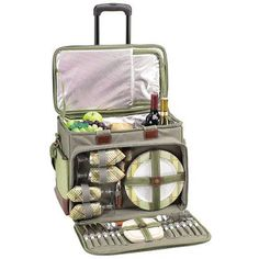 Picnic At Ascot DePinot e Picnic Cooler for Four with Wheels