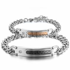 His&Hers Lovers Stainless Steel Grid link Couples Chain Bracelet Christmas Gift #Handmade #Chain