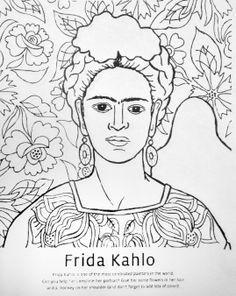 Printables Frida Kahlo Worksheets frida kahlo art coloring page fashion pinterest drawings viva la vida
