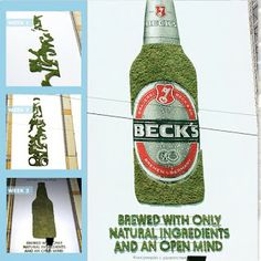""""""" Beck's Brews its Brand with Eco-Friendly Promo What makes a great beer? The folks at Beck's believe that beer should be created with real ingredients by people with open minds. To spread this. Street Marketing, Viral Marketing, Guerilla Marketing, Moss Graffiti, Beer Company, Creative Advertising, Guerrilla, Experiential, Brewing"""