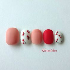 Love Nails, How To Do Nails, Fun Nails, Fruit Nail Art, Cherry Nails, Korean Nails, Seasonal Nails, Glamour Nails, Beautiful Nail Art
