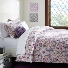 {Austen Medallion Duvet Cover + Sham, Warm #pbteen} This purple floral is really pretty and would make for a cozy, warm dorm.