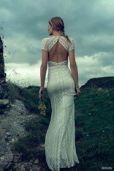 bhldn fall 2016 bridal short sleeves round neck lace embroidered full embellishment elegant sheath wedding dress keyhole back sweep train (monica) mv