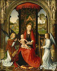 Hans Memling La Vergine e il bambino tra due angeli, musicisti  National Gallery of Art, Washington