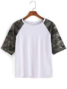 Romwe Camouflage Loose White T-shirt