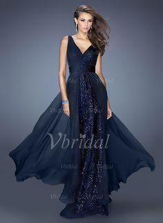 Evening Dresses - $99.00 - A-Line/Princess V-neck Floor-Length Chiffon Sequined Evening Dress With Ruffle (0175055991)