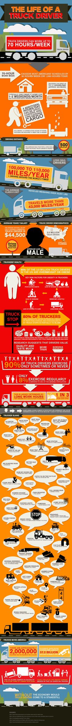 The Life of a Truck Driver Infographic #Trucking #Truckers #SemiTrucks