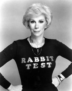 f3d40c11b52d Joan Rivers promoting her directorial debut, RABBIT TEST, 1978 Joan Rivers,  Rabbit,