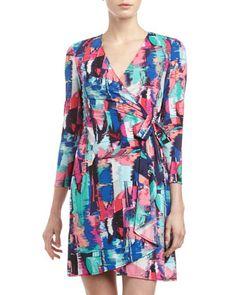Adele Brushstroke-Print Wrap Dress by BCBGMAXAZRIA at Neiman Marcus Last Call.