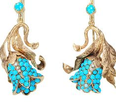 Turquoise  Day Night Earrings, ca 1860
