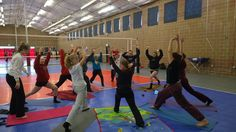 Warrior pose ! #EDGEvbc getting yoga-fied.