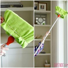Dusting with broom - Cleaning Hacks. Learn how to use these easy natural cleaning products for home - cleaning tricks and tips for lazy people. Deep cleaning and professional tips and tricks. Household Cleaning Tips, House Cleaning Tips, Deep Cleaning, Cleaning Hacks, Natural Cleaning Recipes, Natural Cleaning Products, Limpieza Natural, Home Hacks, Diy Hacks