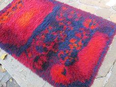 This fuzzy rug is cozy and cheerful. Rya Shag Rug Handmade Wool by BelindasStyleShop