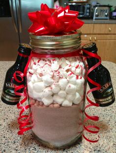 DIY Hot cocoa mix with peppermint and a side of Bailey's in a mason jar. Made these as Christmas gifts this year for friends and they were a hit!