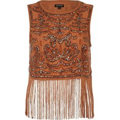River Island Brown sequin embellished fringed tank top ($22) ❤ liked on Polyvore featuring tops, shirts, tank tops, tanks, sale, sequin top, crop tank, crop top, fringe crop top and brown crop top