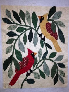 Happy Appliquer changed a Bride's quilt block to the cardinals.