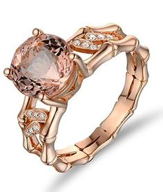 Rose Gold Vintage Morganite and White Diamond Engagement Ring