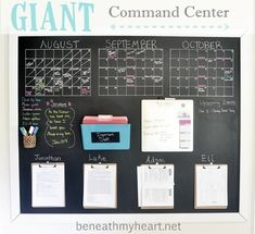 """Family Command Center: 4 clipboards, calendar, hooks for backpacks & out bags, """"to do"""" file holder, chalkboard background for easy note taking, cup to hold chalk markers and pens/pencils, chore chart"""