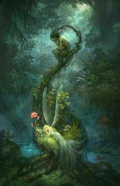 Garden illustration fairy 56 Ideas for 2019 Magical Creatures, Fantasy Creatures, Fairytale Art, Fantasy Landscape, Fairy Art, Magic Fairy, Fantasy Artwork, Fantasy Paintings, Fairy Paintings
