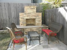 Outdoor fireplace. Our first major DIY project! We built it from the ground up- I'm so pleased with the results! :)