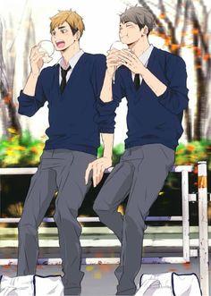 The Miya twins // Haikyuu Boys Anime, Chica Anime Manga, Hot Anime Boy, Cute Anime Guys, Haikyuu Funny, Haikyuu Ships, Haikyuu Fanart, Haikyuu Anime, Anime Bebe