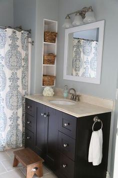 Guest Bathroom Makeover, genius shelves between studs!!