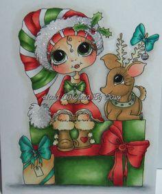 Ooak Card Topper Image - Sherri Baldy Hand Coloured - Christmas - By Dawn