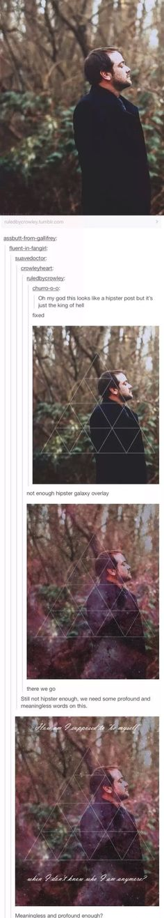 We already have one for Crowley, Now there just needs to be some hipster edits for Sam Dean and Cas and we can have a complete set!