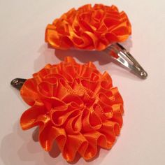 Orange Ruffled Satin Flower Snap Hair Clips