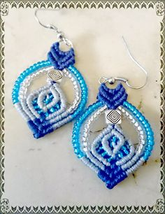 Tutorial de Pendientes, aros, earrings, macrame                                                                                                                                                      Más
