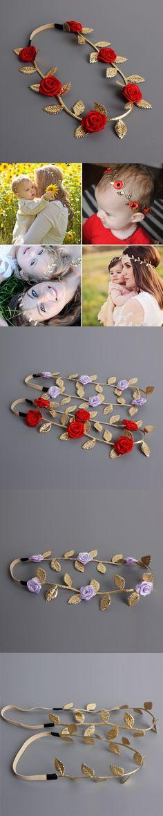 2016 Bohemian style Flower leaf Hairbands baby Girls Parental hair band hair Accessories baby Handmade Floral Headbands $2.03