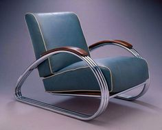 Trend Art Deco Armchair Karl Emanuel Martin ucKem ud Weber Chrome plated steel and Naugahyde upholstery ud The arm rest has the same cross section as an airplane