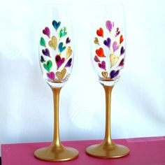 crystal hand painted champagne flute | Hearts' Hand Painted Champagne Glass Flutes - A Pair