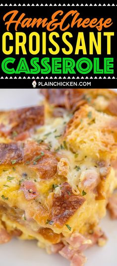 & Cheese Croissant Casserole - love this overnight breakfast casserole! - Easter -Ham & Cheese Croissant Casserole - love this overnight breakfast casserole! Breakfast Casserole With Biscuits, Overnight Breakfast Casserole, Breakfast Dishes, Eat Breakfast, Breakfast Recipes, Breakfast Croissant, Leftover Ham Casserole, Breakfast Ideas, Vegetarian